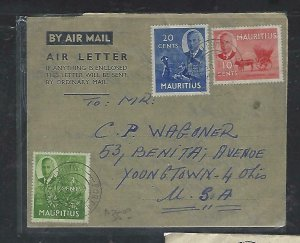 MAURITIUS COVER (P1311B) 1952 KGVI 2C+3C+10C+20C ON FORMULA AEROGRAM TO USA