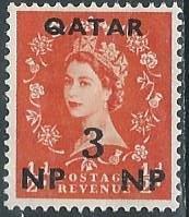 Qatar 2 (mvlh) 3np on ½p Queen Elizabeth, red org (1957)