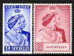 Seychelles 1948 KG6 Royal Silver Wedding perf set of 2 mo...