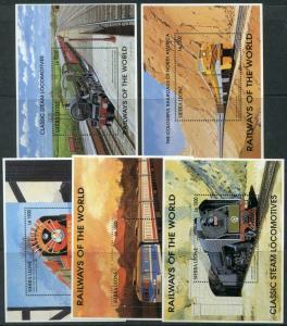 HERRICKSTAMP SIERRA LEONE Sc.# 1853M-Q Steam Locomotive Stamp Souvenir Sheets