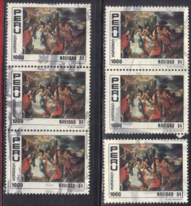 PERU SC# 827 USED 1984 1000s  CHRISTMAS (6)  SEE SCAN