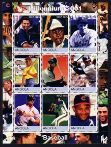 Angola, 2001 Cinderella issue. Baseball Stars, sheet of 9. ^