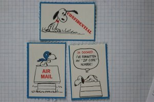 Snoopy airmail etiquette fun mail seal vintage Peanuts cartoon stamp set