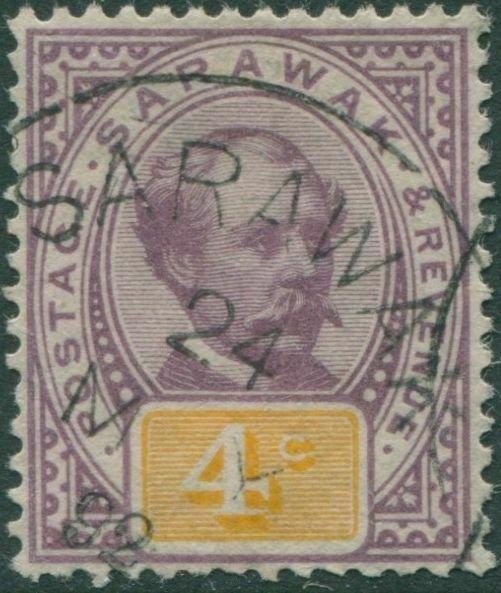 Malaysia Sarawak 1888 SG11 4c purple and yellow Brooke FU