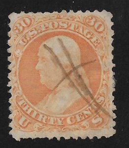 71 Used, 30c. Franklin, Pen Cancel, scv: $210, FREE INSURED SHIPPING,