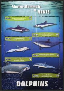 NEVIS 2016 DOLPHINS  SHEET  OF SIX  MINT NH