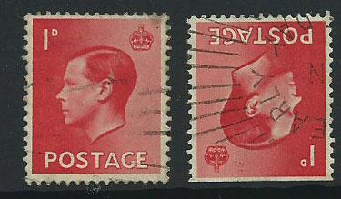 GB Edward VIII  SG 458wi no perf top and 457  Used