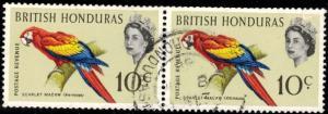 Bird, Parrot, Scarlet Macaw, British Honduras SC#172 used pair