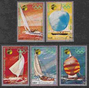 Yemen #297a-f (short set) F-VF used (CTO) Munich Olympic Sailing Yachts