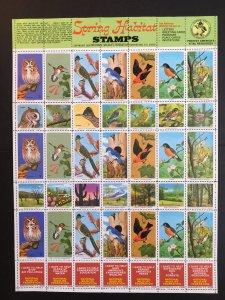 1970 Spring Habitat National Wildlife Federation Stamps Entire Sheet