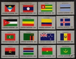 U.N.N Y  1986 FLAGS   SET 16  7th SERIES MNH