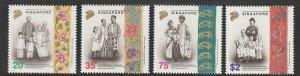 1992 Singapore -Sc 627-30 - 4 singles - MNH VF - Costumes