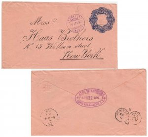 Salvador 22c Coat of Arms Envelope 1892 Correos, Acajutla to New York, N.Y.  ...