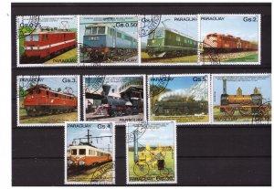PARAGUAY 1981 Locomotives 10  values set CTO