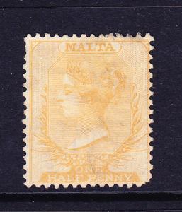 MALTA  1863-81  1/2d  YELLOW BUFF  QV  MH     SG 10