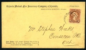 CANADA: Sc.#31  [C]  1¢ Brown Red on LAID PAPER, tied to INSURANCE ADVERTISI...