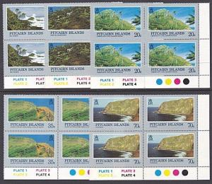 PITCAIRN 1981 Scenic Views set plate blocks of 4 MNH........................3493