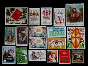 US Religious -Stamps, Christmas, Jesus, Cinderellas Lot of 18