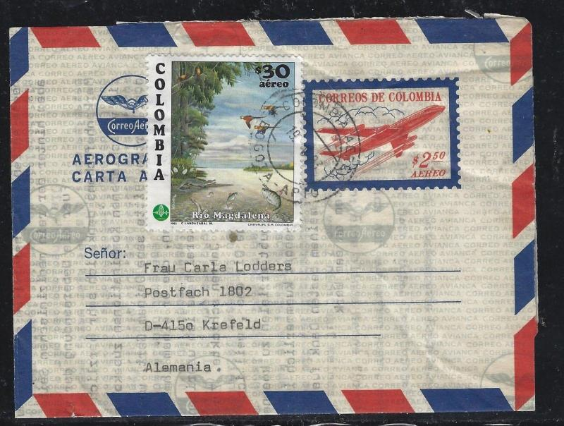 COLOMBIA  (PP0308B) 2.50 AIRPLANE AEROGRAMME UPRATED 20.00  BIRD TO GERMANY