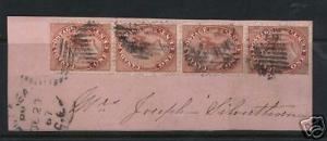 Canada #14 Used Strip Of Three  **With Certificate**