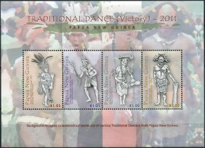 Papua New Guinea. 2011. Traditional Dance. Victory Dance (MNH OG) M/S