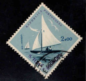 St. Thomas & Prince Islands  Scott 377 Used sial boat stamp scuffed at bottom