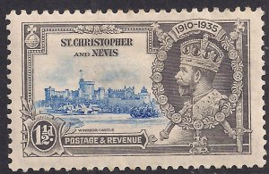 St Christopher - Nevis 1935 KGV 1 1/2d Silver Jubilee MM SG 62 ( D1390 )