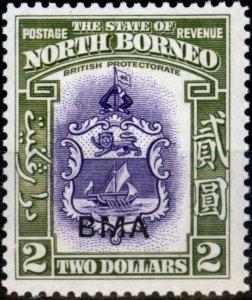 North Borneo 1945 $2 Violet & Olive-Green SG333 Fine MNH