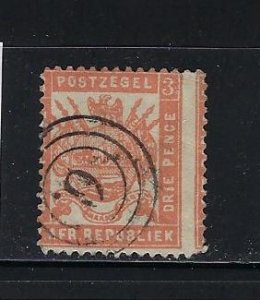 TRANSVAAL- SCOTT #120 1883 3P (RED) PERF 12- USED