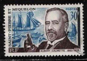 ST PIERRE & MIQUELON Scott # 366 Used 2 - Albert Calmette, Bacteriologist