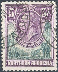 Northern Rhodesia 1925 KGV 5/- Slate-Grey & Violet Used