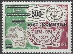 Comoro Islands  155 Black Overprint  MNH  UPU
