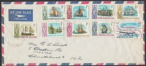 NORFOLK IS 1969 airmail cover to New Zealand - nice franking................C743