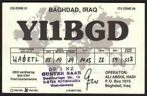 QSL QSO RADIO CARD Baghdad,Iraq,Gunter Saar, Ali Abdul Hadi, Iraq (Q2836)