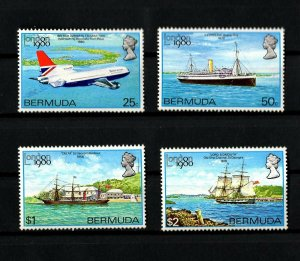 BERMUDA - 1980 - LONDON 80 - AIRCRAFT - CRUISE SHIP - STEAMER + MINT - MNH SET!