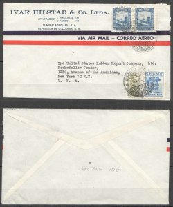 A0554 1948 COLOMBIA TO USA ARCHITECTURE AIR MAIL !!! VERY RARE FDC