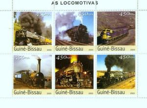 Guinea-Bissau MNH S/S Locomotives 2003 6 Stamps
