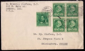 #859,864 Dr. Elkins,Kokomo Ind,Feb 25,1940Typed Letter Head Cover USA To Swden