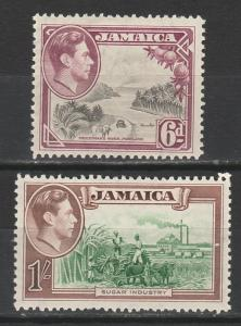 JAMAICA 1938 KGVI PICTORIAL 6D AND 1/- PERF 12.5