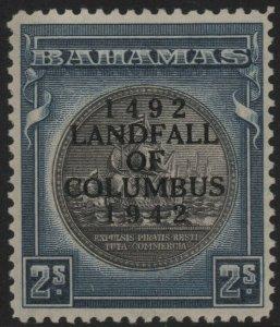 BAHAMAS-1942 2/- Brownish Black & Steel-Blue Sg 172b MOUNTED MINT V38681
