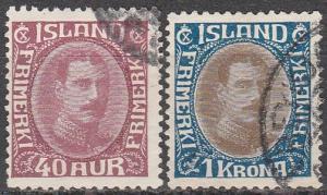 Iceland #184-5 F-VF Used CV $32.00