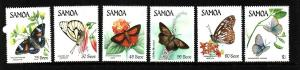 Samoa-Sc#660-5-Unused NH set-Insects-Butterflies-1986-