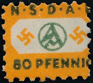 Stamp Germany Revenue WWII Fascism Pre 1933 War Era Stormtrooper Dues 080 MNG