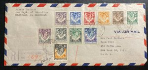 1948 Livingston Northern Rhodesia Registered Cover To New York USA Sc#42-3