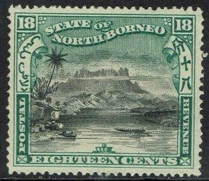 NORTH BORNEO 1897 MOUNT KINABALU 18C PERF 16 INSCRIBED POSTAL REVENUE