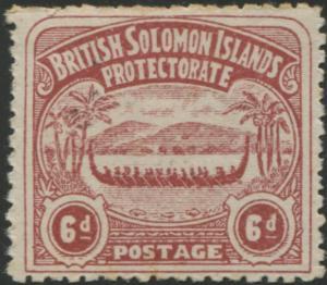 Solomon Islands 1907 SG6 6d chocolate Canoe MLH