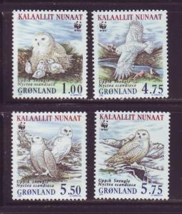 Greenland Sc 344-7 1999 WWF Snowy Owl stamp set mint NH