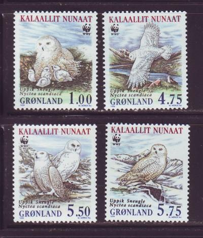 Greenland Sc 344-7 1999 WWF Snowy Owl stamps NH