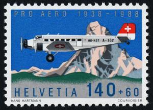 Switzerland B541 MNH Aircraft, Junkers Ju-52, The Matterhorn