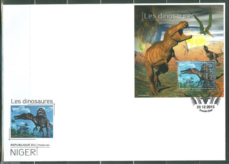 NIGER  2013 DINOSAURS  SOUVENIR SHEET   FIRST DAY COVER